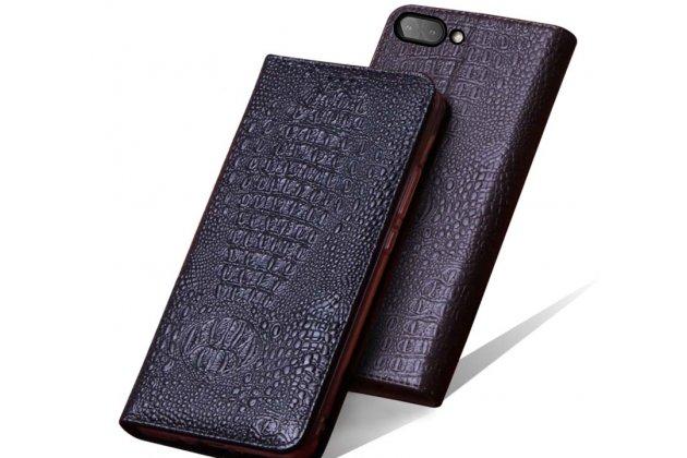 Фирменный роскошный эксклюзивный чехол с фактурной прошивкой рельефа кожи крокодила черный для BlackBerry KEY2. Только в нашем магазине. Количество ограничено