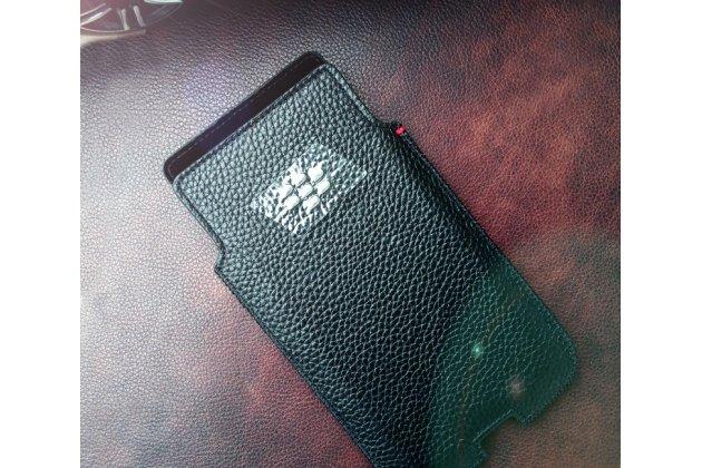 Фирменный оригинальный подлинный чехол-кобура с логотипом для BlackBerry KEY2 из натуральной кожи черного цвета