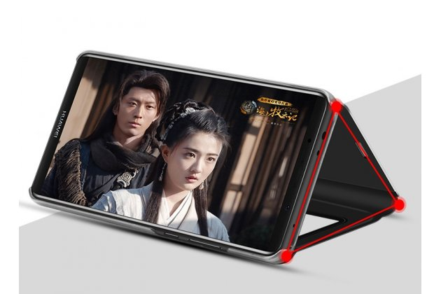 "Чехол-книжка с дизайном ""Clear View Cover"" полупрозрачный с зеркальной поверхностью для Huawei Enjoy 8 / Huawei Nova 2 Lite / Huawei Y7 Prime 2018 / Huawei Honor Play 7C / Huawei Honor 7C Pro (LND-L29 / AL30) золотой"