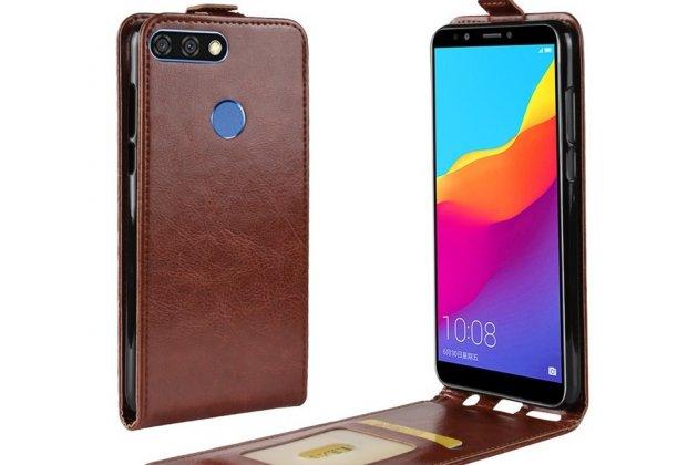 Фирменный оригинальный вертикальный откидной чехол-флип для Huawei Enjoy 8 / Huawei Nova 2 Lite / Huawei Y7 Prime 2018 / Huawei Honor Play 7C / Huawei Honor 7C Pro (LND-L29 / AL30)  коричневый из натуральной кожи Prestige