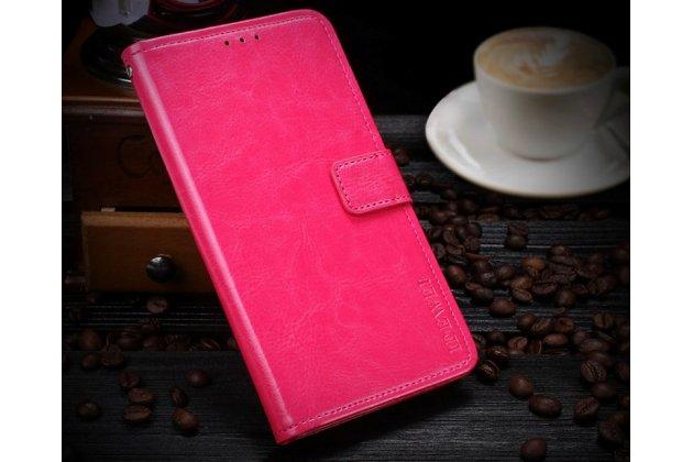 Фирменный чехол-книжка из качественной импортной кожи с подставкой застёжкой и визитницей для Huawei Enjoy 8 / Huawei Nova 2 Lite / Huawei Y7 Prime 2018 / Huawei Honor Play 7C / Huawei Honor 7C Pro (LND-L29 / AL30)  розовый