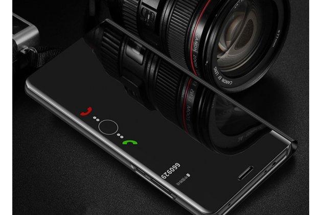 Чехол-книжка с дизайном Clear View Cover полупрозрачный с зеркальной поверхностью для Huawei Enjoy 8 / Huawei Nova 2 Lite / Huawei Y7 Prime 2018 / Huawei Honor Play 7C / Huawei Honor 7C Pro (LND-L29 / AL30) черный