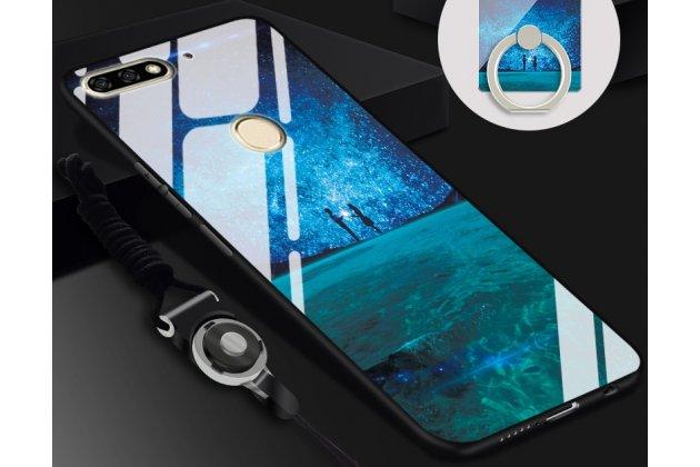 """Фирменный ультра-тонкий силиконовый чехол-бампер для Huawei Enjoy 8/Huawei Nova 2 Lite/Huawei Y7 Prime 2018/Huawei Honor Play 7C/Huawei Honor 7C Pro (LND-L29 / AL30) с закаленным стеклом на заднюю крышку телефона """"тематика Любовь"""""""