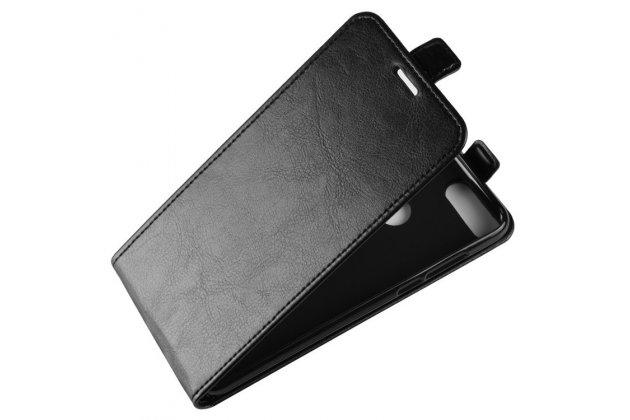 Фирменный оригинальный вертикальный откидной чехол-флип для Huawei Enjoy 8 / Huawei Nova 2 Lite / Huawei Y7 Prime 2018 / Huawei Honor Play 7C / Huawei Honor 7C Pro (LND-L29 / AL30)  черный из натуральной кожи Prestige