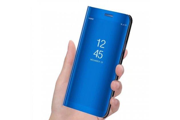 "Чехол-книжка с дизайном ""Clear View Cover"" полупрозрачный с зеркальной поверхностью для Huawei Enjoy 8 / Huawei Nova 2 Lite / Huawei Y7 Prime 2018 / Huawei Honor Play 7C / Huawei Honor 7C Pro (LND-L29 / AL30) синий"