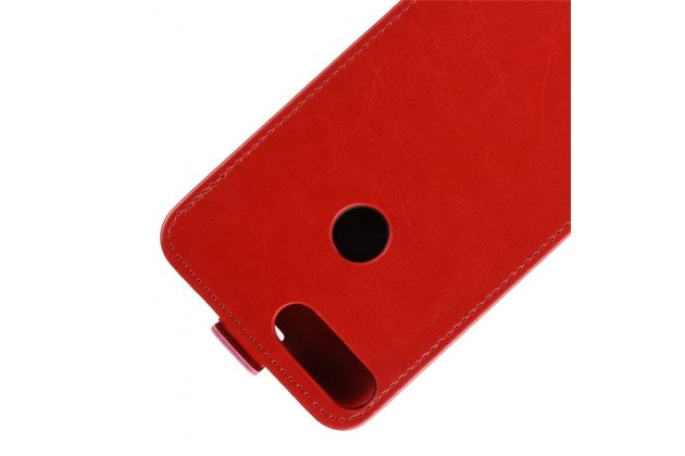 Фирменный оригинальный вертикальный откидной чехол-флип для Huawei Enjoy 8 / Huawei Nova 2 Lite / Huawei Y7 Prime 2018 / Huawei Honor Play 7C / Huawei Honor 7C Pro (LND-L29 / AL30)  красный из натуральной кожи Prestige