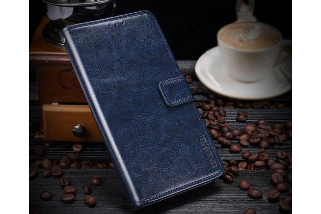 Фирменный чехол-книжка из качественной импортной кожи с подставкой застёжкой и визитницей для Huawei Enjoy 8 / Huawei Nova 2 Lite / Huawei Y7 Prime 2018 / Huawei Honor Play 7C / Huawei Honor 7C Pro (LND-L29 / AL30)  синий