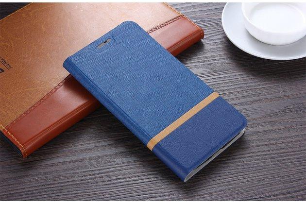 Фирменный чехол-книжка водоотталкивающий с мульти-подставкой на жёсткой металлической основе для Huawei Enjoy 8 / Huawei Nova 2 Lite / Huawei Y7 Prime 2018 / Huawei Honor Play 7C / Huawei Honor 7C Pro (LND-L29 / AL30)  синий из настоящей джинсы
