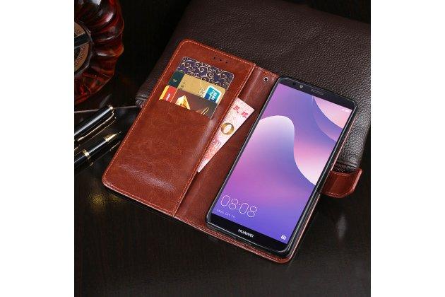 Фирменный чехол-книжка из качественной импортной кожи с подставкой застёжкой и визитницей для Huawei Enjoy 8 / Huawei Nova 2 Lite / Huawei Y7 Prime 2018 / Huawei Honor Play 7C / Huawei Honor 7C Pro (LND-L29 / AL30)  коричневый