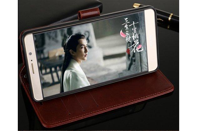 Фирменный чехол-книжка из качественной импортной кожи с подставкой застёжкой и визитницей для Huawei Honor 7A Pro/ Huawei Enjoy 8E/ Huawei Y6 2018/ Huawei Y6 Prime 2018 коричневый