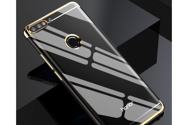 Фирменная задняя панель-чехол-накладка с защитными заглушками с защитой боковых кнопок для Huawei Honor 7A Pro/ Huawei Enjoy 8E/ Huawei Y6 2018/ Huawei Y6 Prime 2018 прозрачная золотая