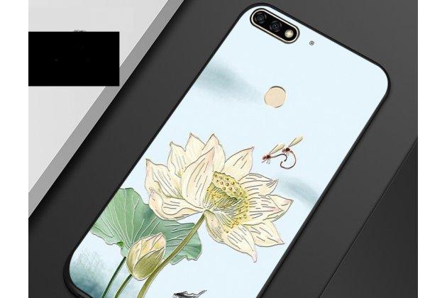 """Фирменная роскошная задняя панель-чехол-накладка  из мягкого силикона с безумно красивым расписным 3D рисунком на Huawei Enjoy 8E """"тематика Цветок Лотоса"""""""