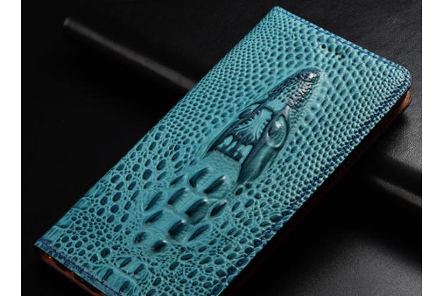 Фирменный роскошный эксклюзивный чехол с объёмным 3D изображением кожи крокодила синий для Huawei Honor 7A Pro/ Huawei Enjoy 8E/ Huawei Y6 2018/ Huawei Y6 Prime 2018  Только в нашем магазине. Количество ограничено