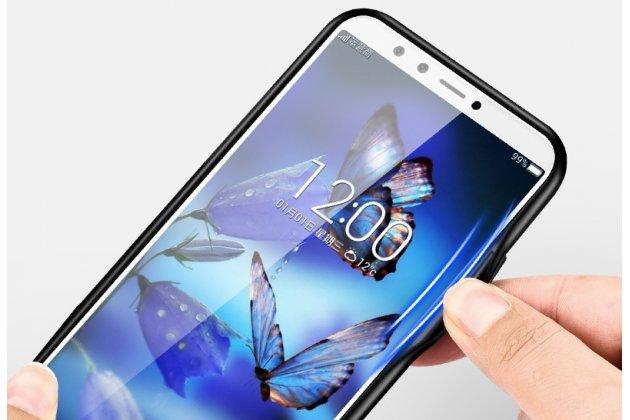 """Фирменный ультра-тонкий силиконовый чехол-бампер для Huawei Honor 7A Pro/ Huawei Enjoy 8E/ Huawei Y6 2018/ Huawei Y6 Prime 2018 с закаленным стеклом на заднюю крышку телефона """"тематика Вселенная"""""""