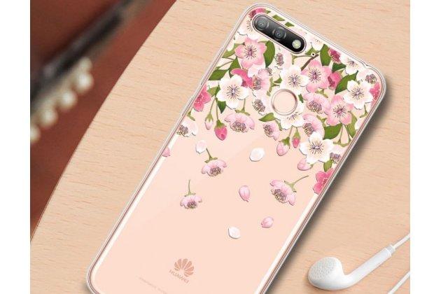 Фирменная задняя панель-чехол-накладка из прозрачного 3D  силикона с объёмным рисунком для Huawei Honor 7A Pro/ Huawei Enjoy 8E/ Huawei Y6 2018/ Huawei Y6 Prime 2018  тематика Цветок вишни которая огибает логотип чтобы была видна марка телефона