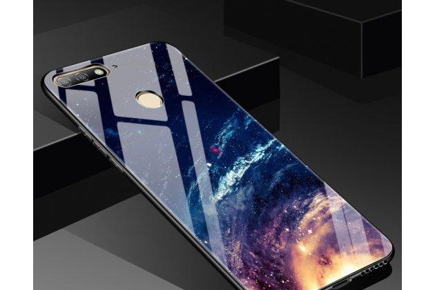 """Фирменный ультра-тонкий силиконовый чехол-бампер для Huawei Honor 7A Pro/ Huawei Enjoy 8E/ Huawei Y6 2018/ Huawei Y6 Prime 2018 с закаленным стеклом на заднюю крышку телефона """"тематика Звездное небо"""""""