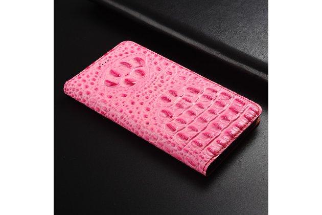 Фирменный роскошный эксклюзивный чехол с объёмным 3D изображением рельефа кожи крокодила розовый для Huawei Honor 7A Pro/ Huawei Enjoy 8E/ Huawei Y6 2018/ Huawei Y6 Prime 2018 Только в нашем магазине. Количество ограничено