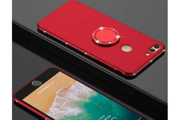 Задняя панель-крышка из прочного силикона с матовым противоскользящим покрытием для Huawei Honor 7A Pro/ Huawei Enjoy 8E/ Huawei Y6 2018/ Huawei Y6 Prime 2018 с магнитным держателем красная