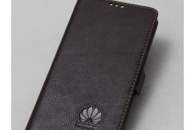 Фирменный оригинальный подлинный чехол с логотипом для Huawei Mate 20 6.53 из натуральной кожи коричневый