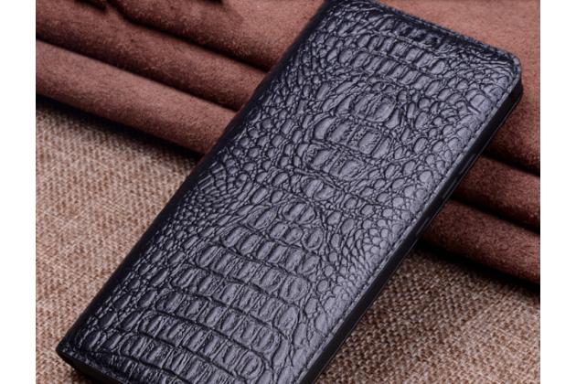 Фирменный роскошный эксклюзивный чехол с фактурной прошивкой рельефа кожи крокодила черный для Huawei Mate 20 Pro / Mate 20 RS 6.39. Только в нашем магазине. Количество ограничено