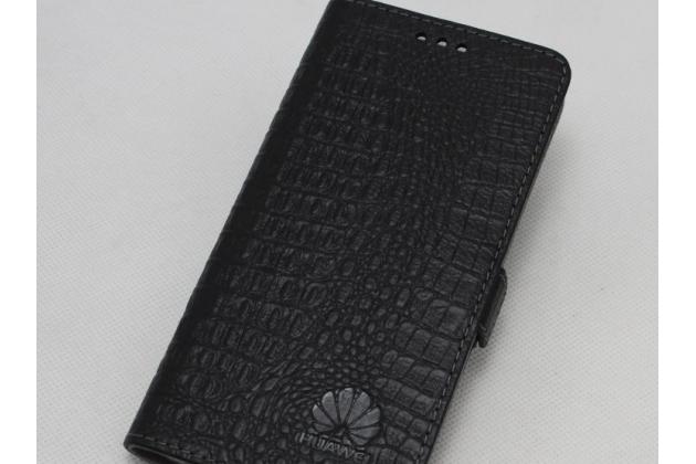 Фирменный оригинальный подлинный чехол с логотипом для Huawei Mate 20 Pro / Mate 20 RS 6.39 из натуральной кожи крокодила черный