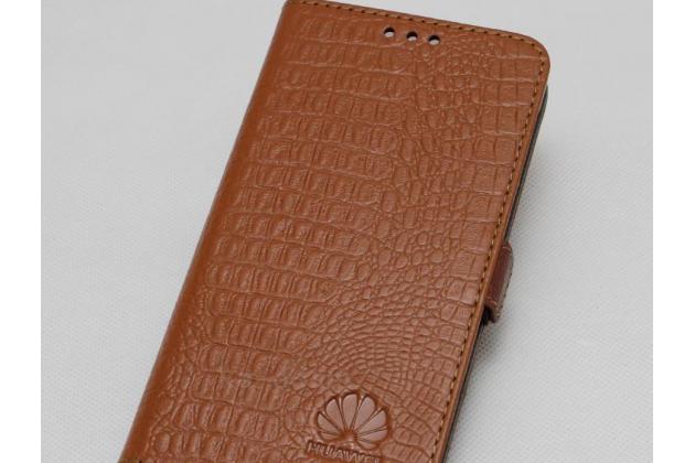 Фирменный оригинальный подлинный чехол с логотипом для Huawei Mate 20 6.53 из натуральной кожи крокодила светло-коричневый