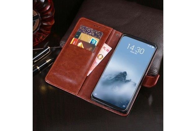Фирменный чехол-книжка из качественной импортной кожи с подставкой застёжкой и визитницей для Huawei Mate 20 6.53 черный