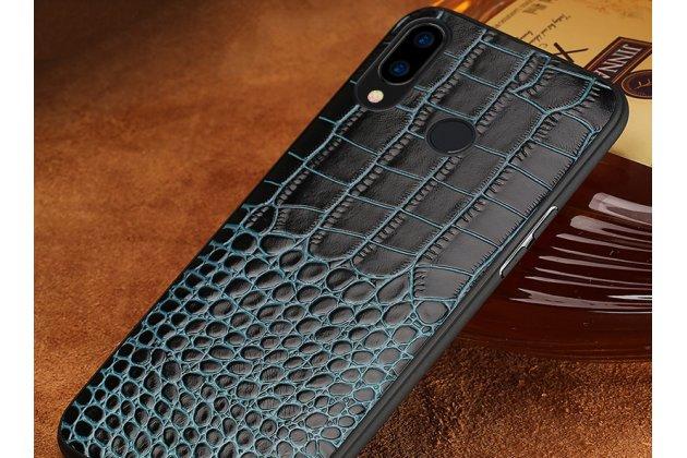 Фирменная элегантная экзотическая задняя панель-крышка с фактурной отделкой натуральной кожи крокодила синего цвета для Huawei Nova 3e 4/128GB. Только в нашем магазине. Количество ограничено.