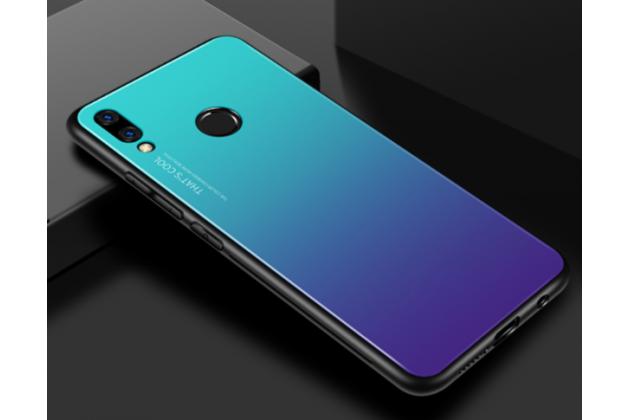"""Фирменный ультра-тонкий силиконовый чехол-бампер для Huawei Nova 3e 4/128GB с закаленным стеклом на заднюю крышку телефона """"тематика Градиент"""" синий"""