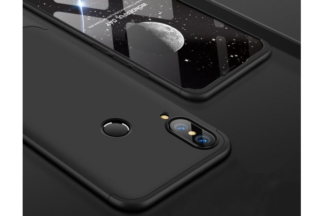 Фирменный уникальный чехол-бампер-панель с полной защитой дисплея и телефона по всем краям и углам для Huawei Nova 3e 4/128GB черный