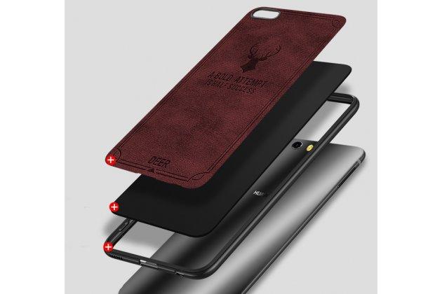"""Фирменная премиальная элитная крышка-накладка из качественного силикона с текстурным покрытием  для Huawei Nova 3e 4/128GB  """"Ретро под старину"""" коричневая"""