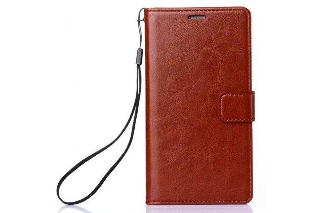 Фирменный чехол-книжка из качественной импортной кожи с подставкой застёжкой и визитницей для Huawei Nova 3e 4/128GB коричневый