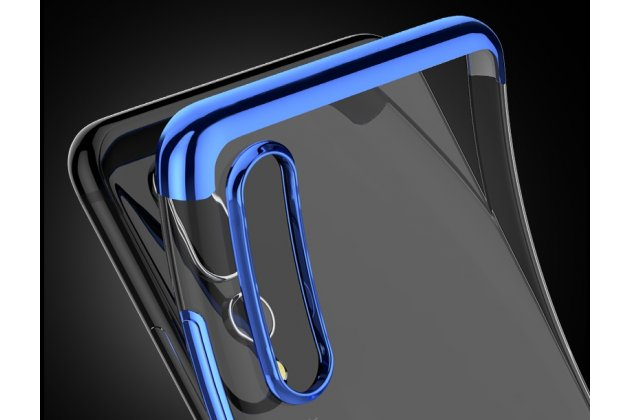 Фирменная задняя панель-чехол-накладка с защитными заглушками с защитой боковых кнопок для Huawei Nova 3e 4/128GB прозрачная синяя