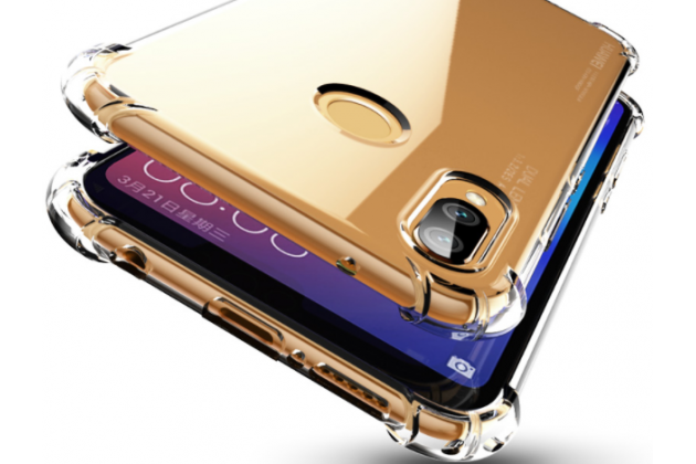 Фирменная задняя панель-чехол-накладка с защитными заглушками с защитой боковых кнопок для Huawei Nova 3e 4/128GB прозрачная