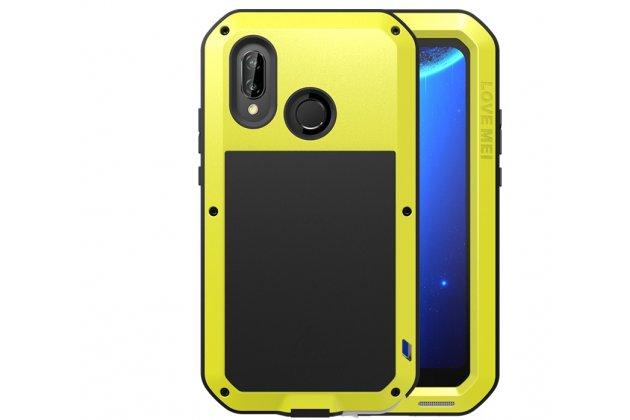 Неубиваемый водостойкий противоударный водонепроницаемый грязестойкий влагозащитный ударопрочный фирменный чехол-бампер для Huawei Nova 3e 4/128GB цельно-металлический со стеклом Gorilla Glass желтый