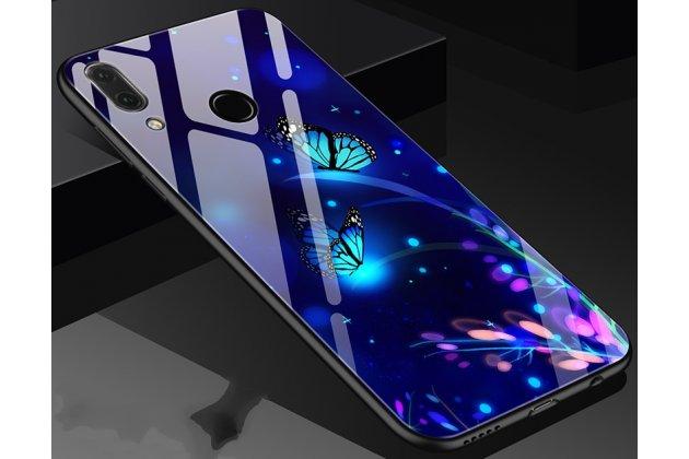 """Фирменный ультра-тонкий силиконовый чехол-бампер для Huawei Nova 3e 4/128GB с закаленным стеклом на заднюю крышку телефона """"тематика Радужные бабочки"""""""