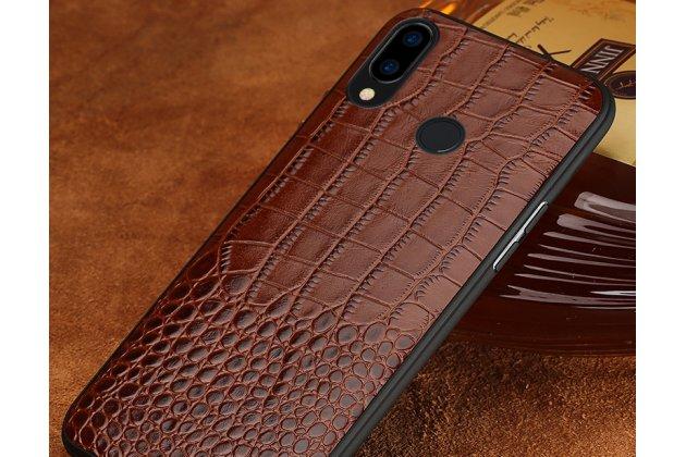 Фирменная элегантная экзотическая задняя панель-крышка с фактурной отделкой натуральной кожи крокодила кофейного цвета для Huawei Nova 3e 4/128GB . Только в нашем магазине. Количество ограничено.