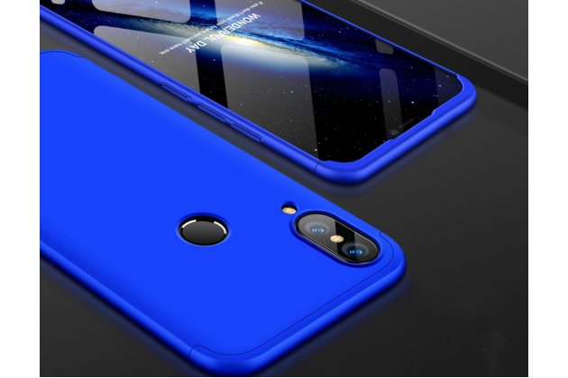 Фирменный уникальный чехол-бампер-панель с полной защитой дисплея и телефона по всем краям и углам для Huawei Nova 3e 4/128GB синий