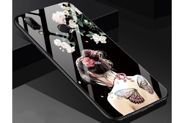 """Фирменный ультра-тонкий силиконовый чехол-бампер для Huawei Nova 3e 4/128GB с закаленным стеклом на заднюю крышку телефона """"тематика Весенние цветы"""""""