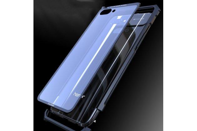 Неубиваемый противоударный ударопрочный фирменный чехол-бампер для Huawei Nova 3e 4/128GB с металлическими защитными углами со стеклом задней крышки Gorilla Glass цвет черный