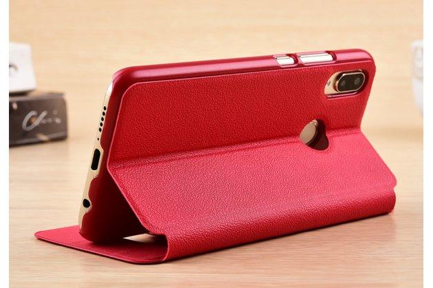 Фирменный чехол-книжка для Huawei Nova 3e 4/128GB красный с окошком для входящих вызовов и свайпом водоотталкивающий