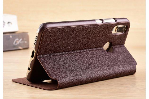 Фирменный чехол-книжка для Huawei Nova 3e 4/128GB коричневый с окошком для входящих вызовов и свайпом водоотталкивающий