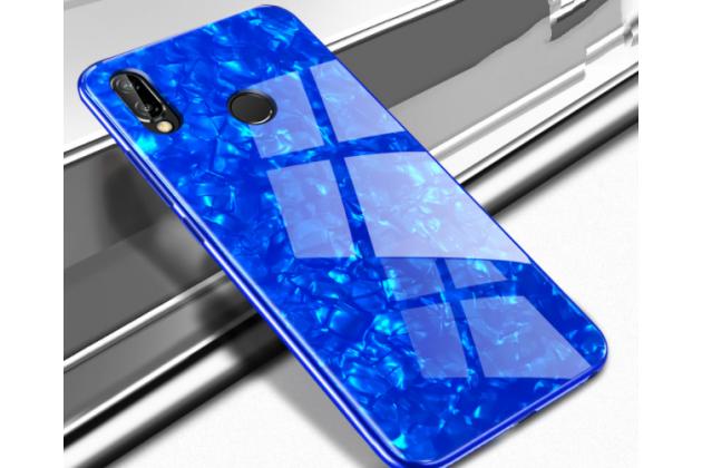 Фирменный ультра-тонкий силиконовый чехол-бампер для Huawei Nova 3e 4/128GB с закаленным стеклом на заднюю крышку телефона синий