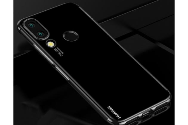 Фирменная задняя панель-чехол-накладка с защитными заглушками с защитой боковых кнопок для Huawei Nova 3e 4/128GB прозрачная черная