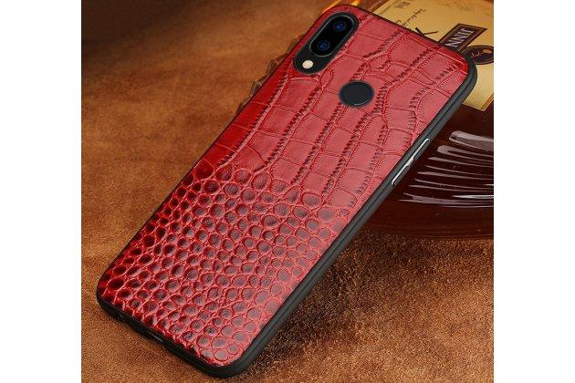 Фирменная элегантная экзотическая задняя панель-крышка с фактурной отделкой натуральной кожи крокодила красного цвета для Huawei Nova 3e 4/128GB. Только в нашем магазине. Количество ограничено.