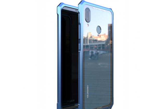 Неубиваемый противоударный ударопрочный фирменный чехол-бампер для Huawei Nova 3e 4/128GB с металлическими защитными углами со стеклом задней крышки Gorilla Glass синий