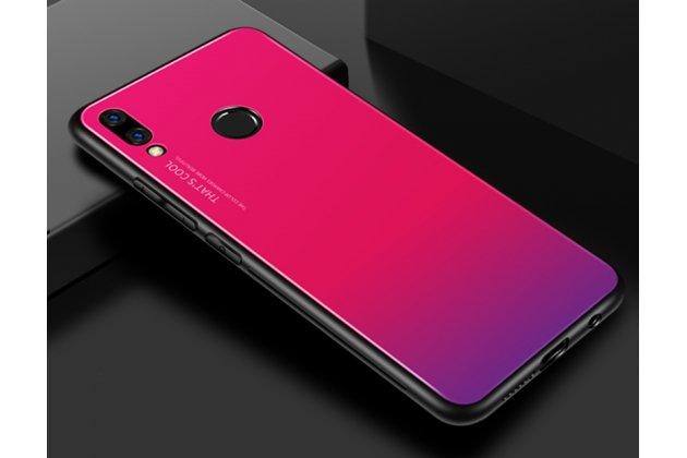 """Фирменный ультра-тонкий силиконовый чехол-бампер для Huawei Nova 3e 4/128GB с закаленным стеклом на заднюю крышку телефона """"тематика Градиент"""" розовый"""