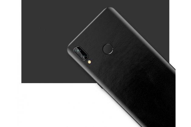 Оригинальная эксклюзивная задняя кожаная наклейка (из натуральной кожи) для Huawei Nova 3e 4/128GB черная