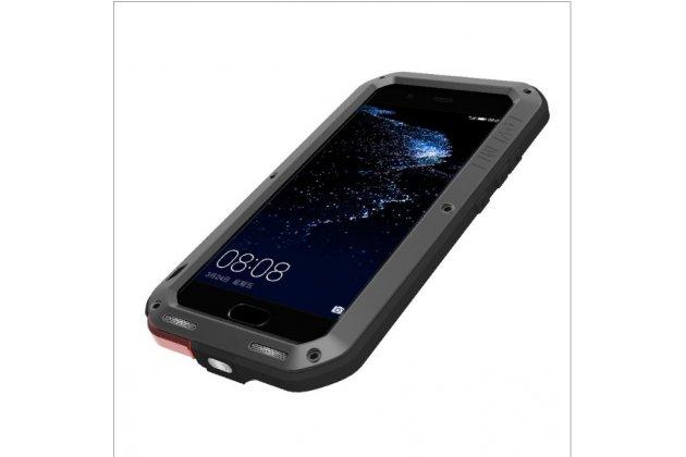 Неубиваемый водостойкий противоударный водонепроницаемый грязестойкий влагозащитный ударопрочный фирменный чехол-бампер для Huawei Nova 3e 4/128GB цельно-металлический со стеклом Gorilla Glass черный