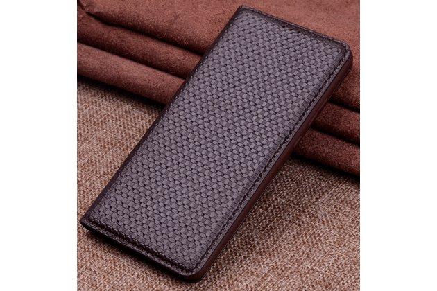 Фирменный чехол-книжка из фактурной качественной импортной кожи с мульти-подставкой для Huawei Mate 20 Lite (SNE-LX1) коричневый